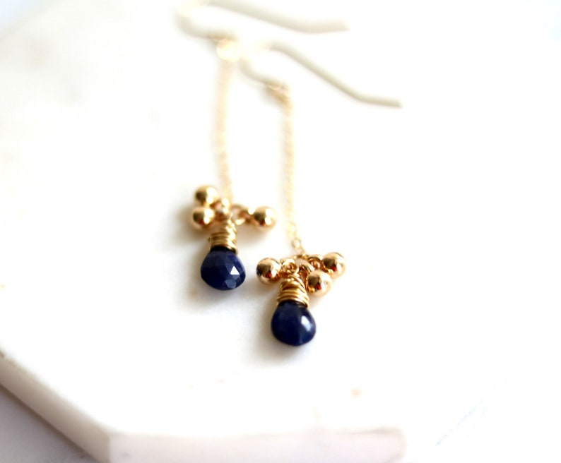 Blue Sapphire Earrings September Birthstone Long dainty drop image 0
