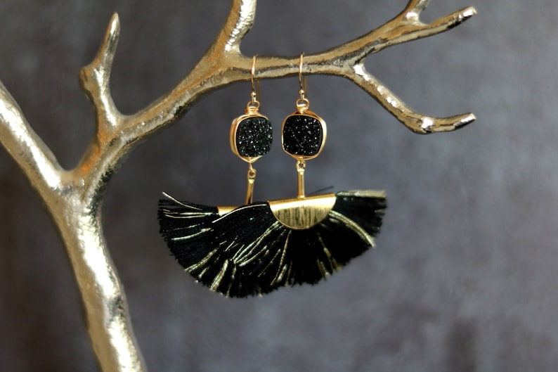 Black Druzy tassel earrings fan shape gold hoops statement image 0