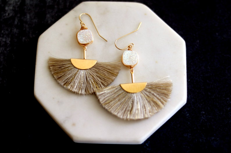 Cream beige Druzy tassel earrings fan shape gold hoops White