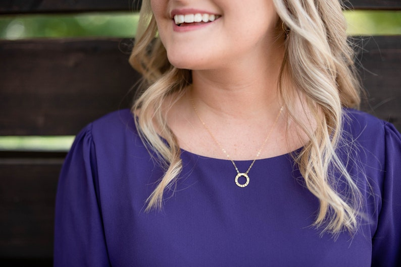 Circle Necklace Minimalist gold choker layering necklace image 0
