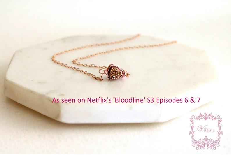 As seen on Netflix /'Bloodline/' Rosegold Druzy Necklace Trillion Gold druzy pendant choker VitrineDesigns