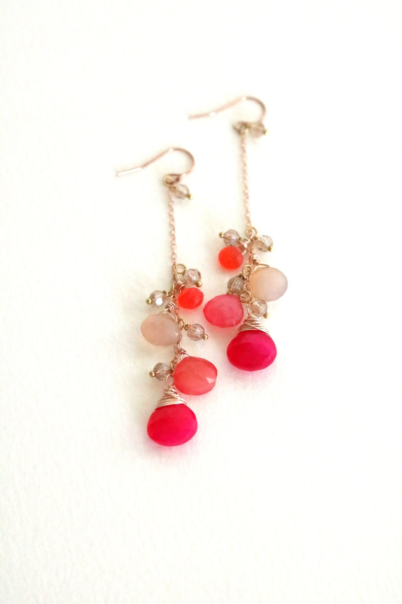 Hot pink Earrings chalcedony fuchsia peach blush Summer pop of image 0