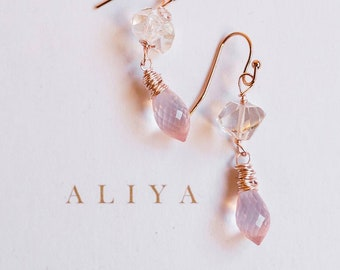 Rose quartz and herkimer diamond earrings by VitrineDesigns April birthstone jewelry