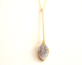 Petal Druzy Drop pendant necklace gift for her Wedding jewelry pendulum necklace VitrineDesigns