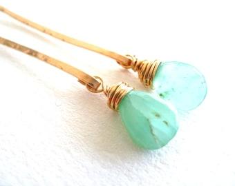 Peruvian Opal earrings Aqua blue green Stick earrings October birthstone gift Under 60