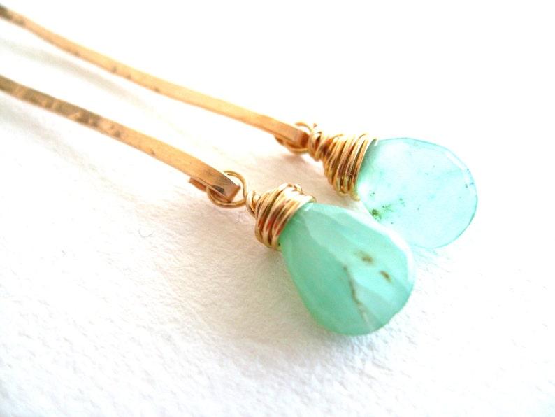 Peruvian Opal earrings Aqua blue green Stick earrings October image 0