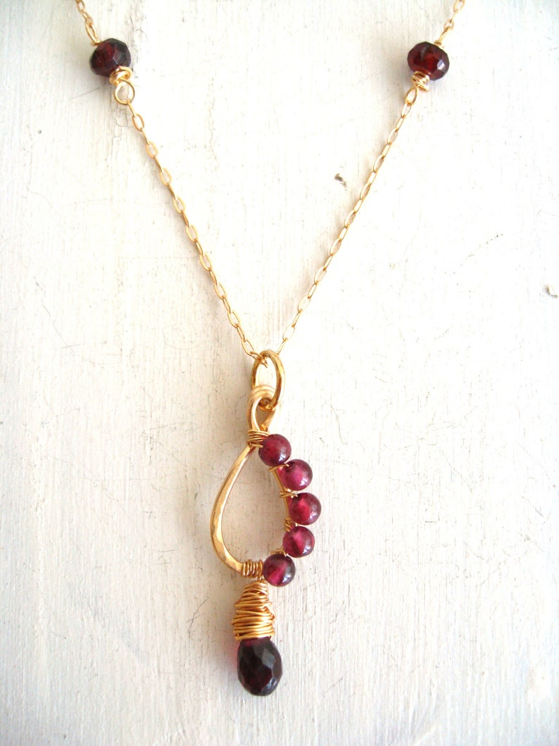 As seen on Legacies S1E13 E15  Garnet teardrop Necklace by image 0
