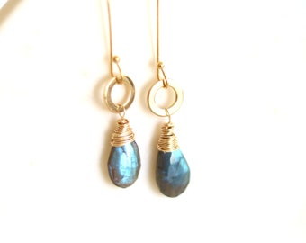 As seen on The Americans, Labradorite teardrop earrings, grey seagreen blue, dainty jewelry gift for mom, VitrineDesigns Under 75