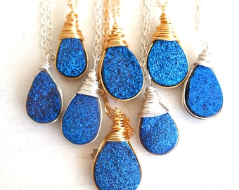 Blue Druzy Necklace celebrities at Golden Globes Vitrine Gift for her Under 60 Raindrop necklace