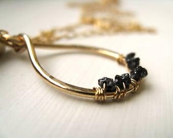 Raw Black Diamond necklace April birthstone Gift for her Under 125 by Vitrine Diamond White Pink Blue