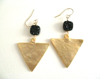 Druzy earrings Black and Gold Triangle Geometric Statement earrings  Gold Drusy earrings Vitrine