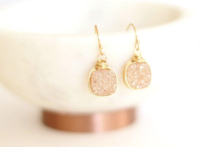 Druzy earrings Gold peach champagne drops square 14k gf Drusy image 0