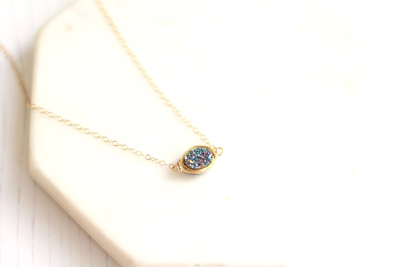 Oval Druzy choker Peacock green Oval necklace Enchanted druzy image 0