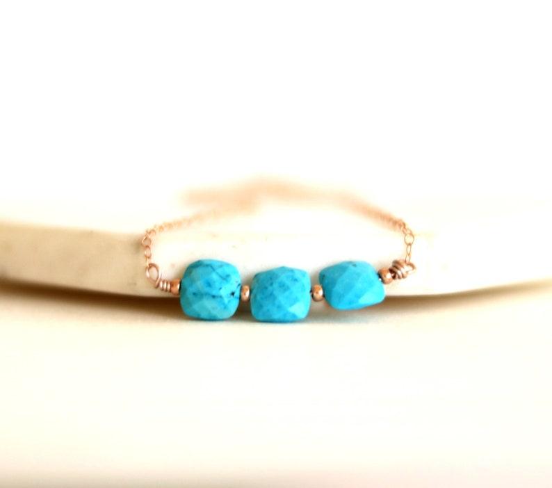 Arizona Turquoise Necklace Rose Gold choker blue and gold image 0