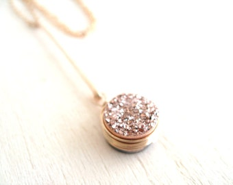 Rose gold Druzy Drop pendant necklace gift for her Under 60 Pendulum pendant As worn by Actress Stephanie Drapeau VitrineDesigns