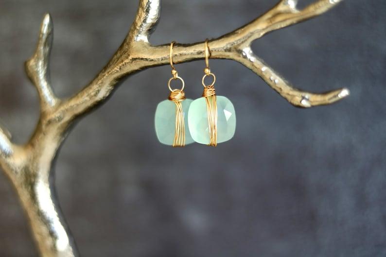 Aqua Chalcedony dangle earrings ISLA frosty ice blue pale image 0