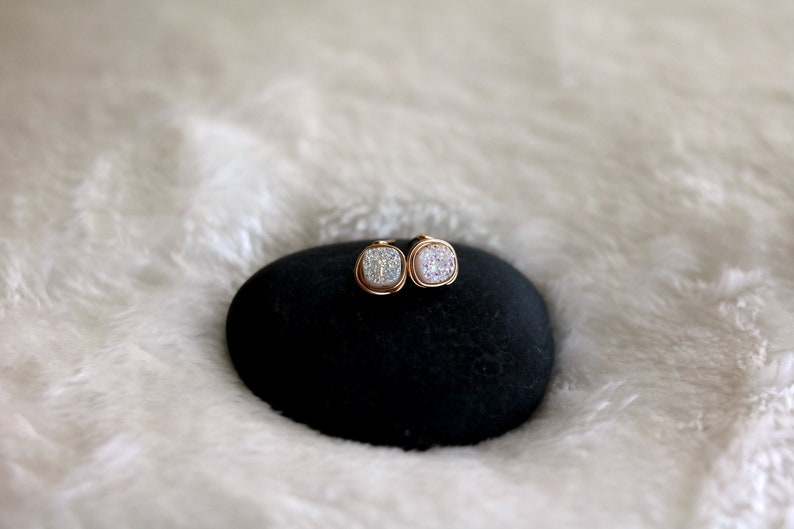 Square Sparkling White Druzy earrings cushion Stud earrings image 0