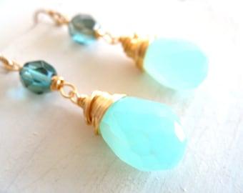 Blue Peruvian Opal Earrings, October birthstone, Summer Jewelry, Aqua Pale blue Under 75 VitrineDesigns