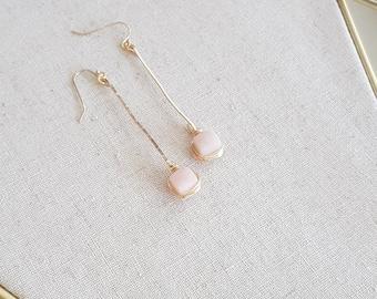 Pink Opal Earrings Stick earrings Linear Modern Jewelry October birthstone Gift for her Under 75 Vitrine Designs