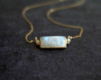 Rainbow Moonstone Bar Necklace Statement necklace White gemstone choker Vitrine Designs Layering Necklace