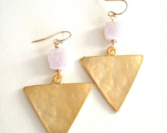 Druzy earrings White and Gold Triangle Geometric Statement earrings  Gold Drusy earrings Vitrine