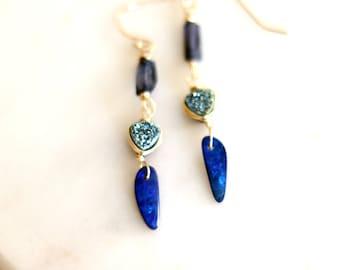 Blue Queensland Opal Doublet Iolite Gemstone earrings Australian opal October birthstone Blue Druzy Earrings 14Kt goldfilled  VitrineDesigns