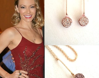 Rose Gold Druzy Pendulum Necklace by Vitrine Fall jewelry gift for her Worn by Hollywood actress Stephanie Drapeau