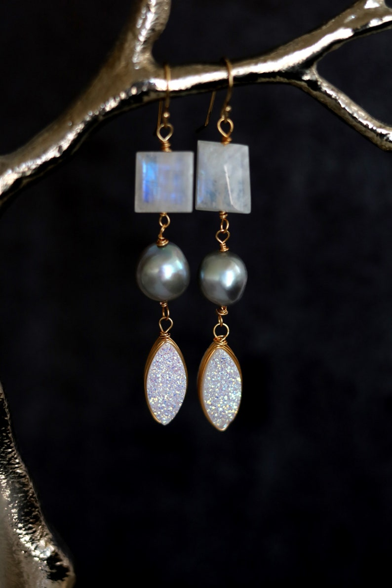 Statement moonstone grey pearl white druzy sparkling drops red image 0