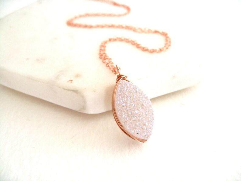 d140c1f44 White druzy necklace Gold rosegold silver amaretto drusy | Etsy
