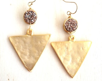 As seen on OK!TV USA Druzy earrings Triangle Geometric Statement earrings  Gold Drusy earrings Vitrine
