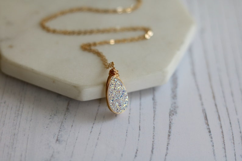 White druzy teardrop gold necklace Opalescent Cream drusy image 0