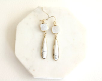 Druzy earrings White Marble Statement earrings Occasion jewelry Gold Drusy Long drop earrings VitrineDesigns