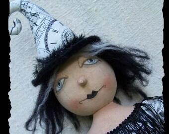 Abracadabra, A Primitive, Folk Art, GHOST, Witch, Topsy, Turvey, Doll, E Pattern