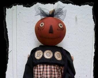 PUMPKIN BOO, A Primitive, Folk Art, Doll, Spider Purse, Halloween, Pattern by Pea Picker's Primitives