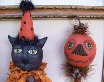 Miney Mo, A Primitive, Folk Art, CAT, Pumpkin, DOLL, Shaker, Bobbin Head, Pea Picker's, Pattern