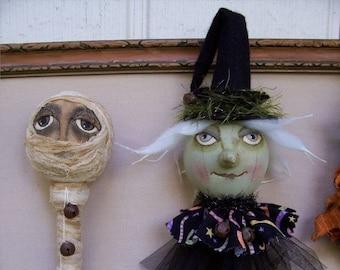 Eenie Meenie, A Primitive, Folk Art, Mummy, WITCH, Shaker, Bobbin Head, Pattern by Pea
