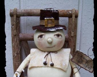 SNOW Thankful, A Primitive, Folk Art, Pumpkin, Snowman, Thankgiving, Doll, Pattern By Pea
