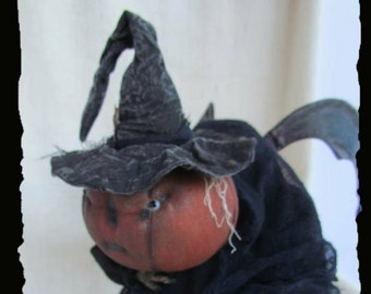 GRUMPLIN,Pumpkin, A Primitive, Folk Art, Hunchback, Doll, HALLOWEEN, PATTERN