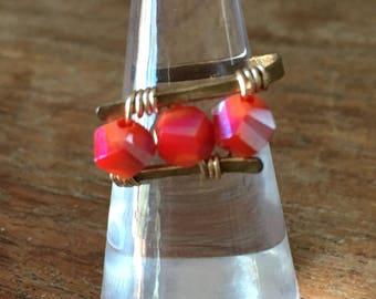Orange/Red Czech glass bead ring