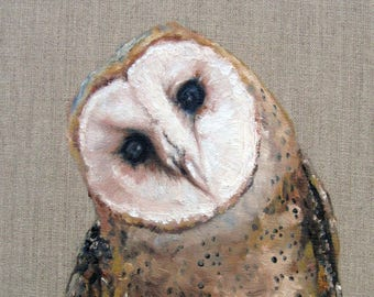 """Barn Owl """"Peepers"""" Country art, Archival PRINT of original painting & Free Shipping!"""