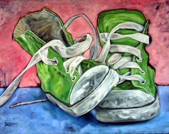 """Original Oil painting on canvas BUBBLEGUM Vintage sneakers 40"""" by 50"""" part of the SHOE SERIES!"""
