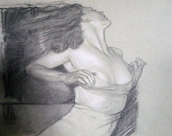 "Beautiful ""UNDONE"" Charcoal  Drawing 9"" by 12"" Giclee PRINT of original and free shipping!"