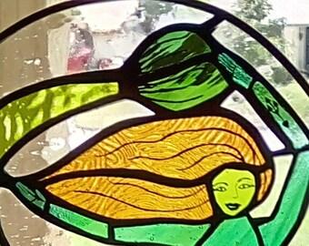 WickedBadNaughty Glass Green & Teal Green Siren Mermaid Window Suncatcher