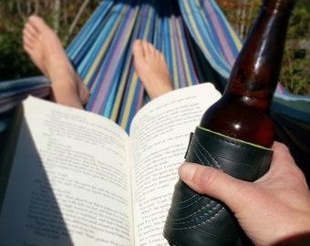Beer Sleeves - beverage cooler - eco style - Bike Tube - Drink Sleeve - Bike Love - Can Holder - Gift for Him - Upcycled