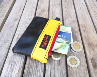 Small bike tube purse  - Repurposed bike tubes - bike friendly -  vegan coin wallet - Rethink - Urchin Bags - Everyday Bag