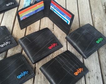 Bike Tube Wallet - Black Billfold Wallet - Mens Vegan Wallet -  Bi-fold Wallet - vegan friendly recycled wallet - bike tyre - minimalist