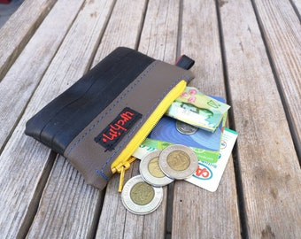 Small change purse - Recycled Bag - Bike Tube Wallet - Vegan Leather Coin Pocket - Eco Friendly Pouch