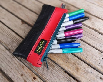 Pencil case - Eco Friendly Pouch - Recycled Bag - Bike Inner Tube - Repurposed