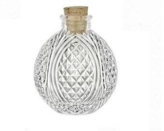 4 oz Spherical Crystal Cut Corked Bottle