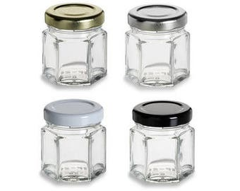 Set of 24 1.5 oz (45 ml) Glass Hexagon Jar with your color Choice of Plastisol Lined BPA Free Lid: Gold, Silver, White, Black and Red